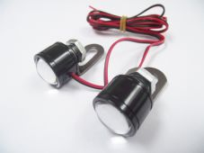 LED white Button bolts with mirror mount brackets x2 day running strobe light